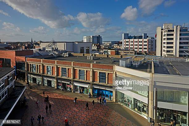 aerial cityscape of swindon shopping centre - swindon stock pictures, royalty-free photos & images