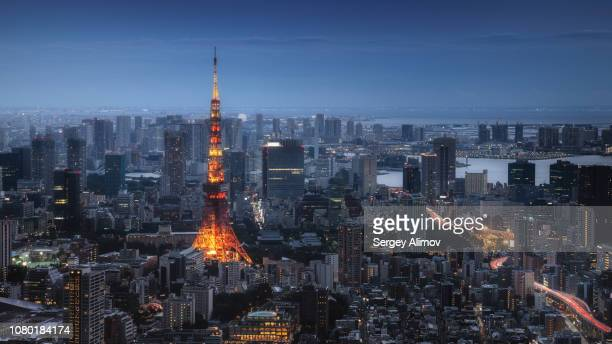 aerial cityscape of tokyo in the evening - 社会問題 ストックフォトと画像