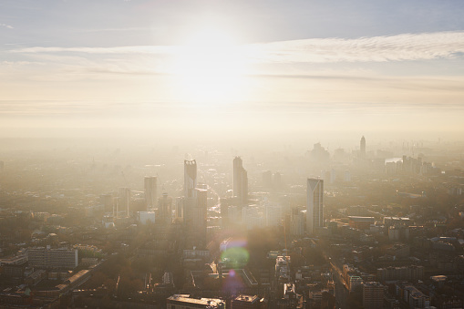 Aerial cityscape over London city at sunset - gettyimageskorea