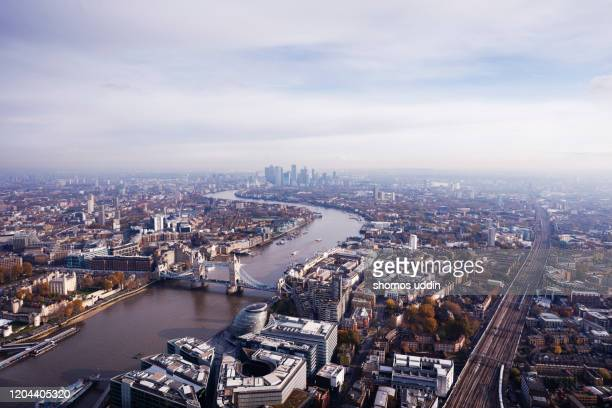 aerial cityscape over london city - roof stock pictures, royalty-free photos & images