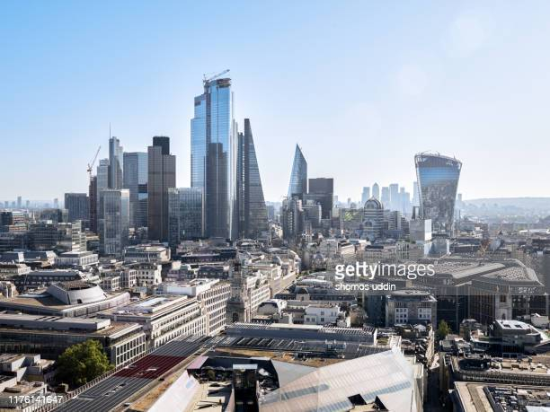 aerial cityscape over london skyline - london skyline stock pictures, royalty-free photos & images