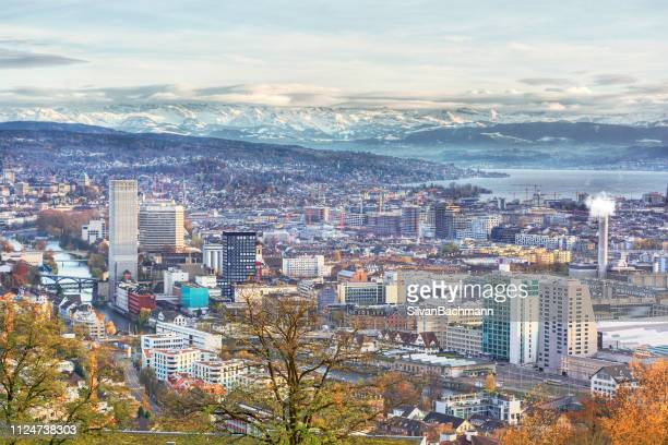 aerial cityscape, zurich, switzerland - zurich stock pictures, royalty-free photos & images