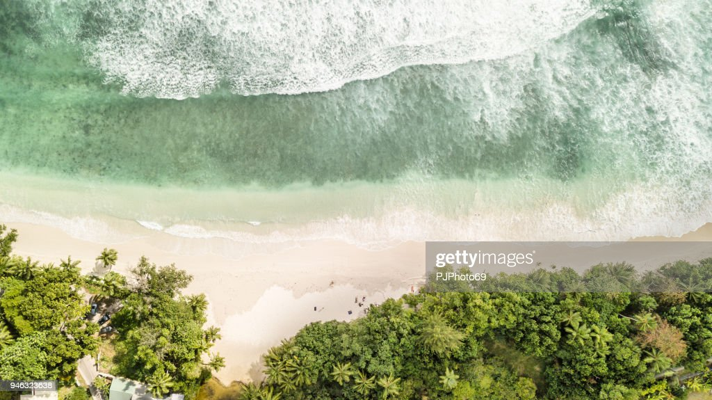 Aerial coastal view of Anse Volbert - Mahe - Seychelles : Foto stock