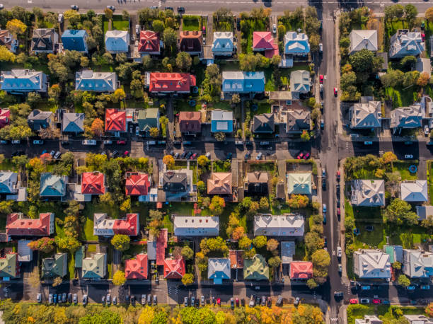 aerial - colorful roof tops, reykjavik, iceland - house stock pictures, royalty-free photos & images