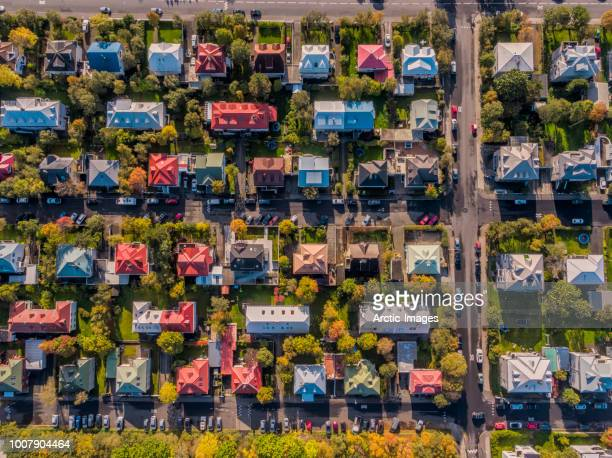 aerial - colorful roof tops, reykjavik, iceland - residential building stock pictures, royalty-free photos & images