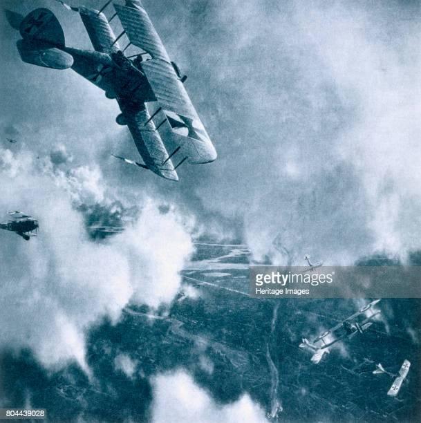Aerial combat on the Western Front, World War I, 1914-1918. From Deutsche Gedenkhalle: Das Neue Deutschland compiled by General Von Eisenhart Rothe,...