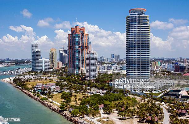 aerial condominiums south pointe park - miami beach south pointe park stock pictures, royalty-free photos & images