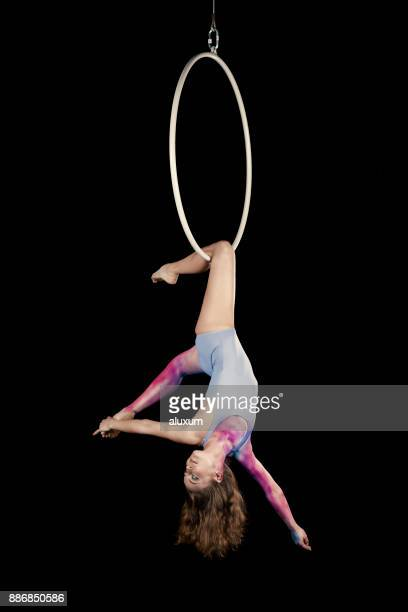 aerial dancer performance with ring - acrobatic activity stock photos and pictures