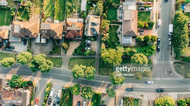 a aerial daytime view of a suburban road in london - stock photo - elevated view stock pictures, royalty-free photos & images