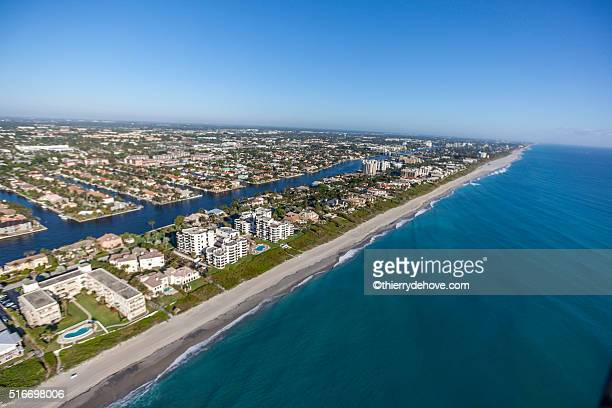 aerial delray beach, florida - delray beach stock pictures, royalty-free photos & images