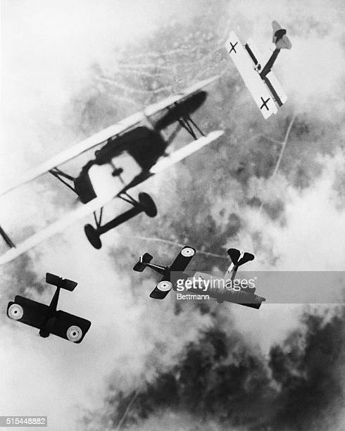 Aerial dogfight over Western Front during World War I. Undated photograph.