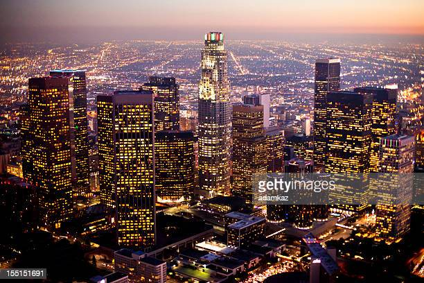 Aerial Downtown LA at Night