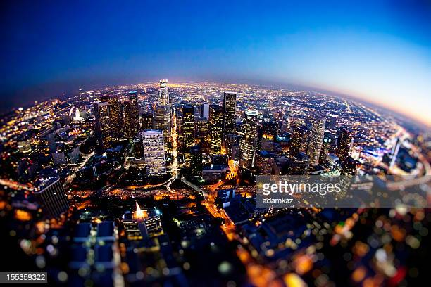 Aerial Downtown Los Angeles at Night