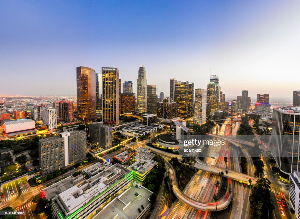 Aerial Downtown Los Angeles Skyline at Night : Stock Photo