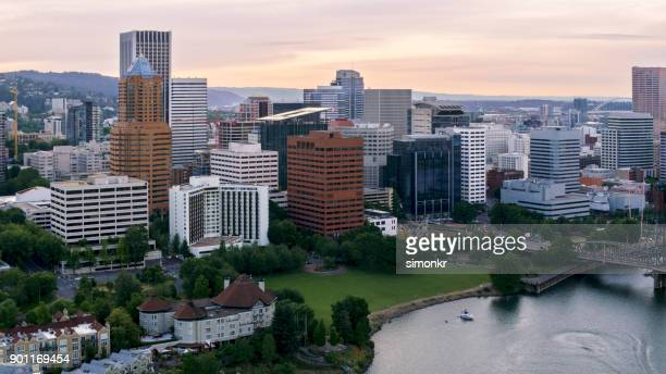 aerial downtown portland from waterfront - willamette river stock photos and pictures