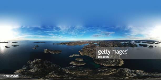 aerial drone 360 photo: the sea and fjords of norway - vista de 360 graus imagens e fotografias de stock