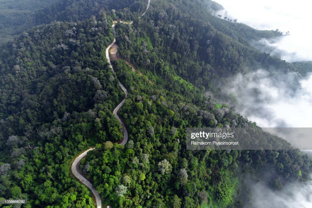 Aerial Drone High angle View of Mist ,Mountain and River : Stock Photo