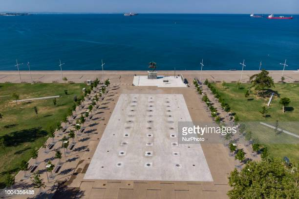 Aerial Drone images of the bronze statue of Alexander the Great the King of Macedonia the king of Greece on his famous horse Bucephalus located at...