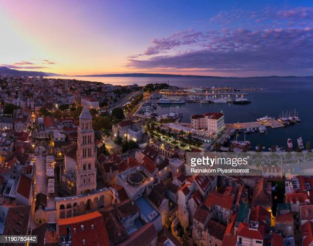 aerial drone panorama view sunrise scene of split old town with saint domnius bell tower in split city. croatia - dalmatia region croatia stock pictures, royalty-free photos & images