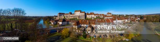 aerial drone  panoramic view of pesmes village in burgundy, france - オートソーヌ ストックフォトと画像
