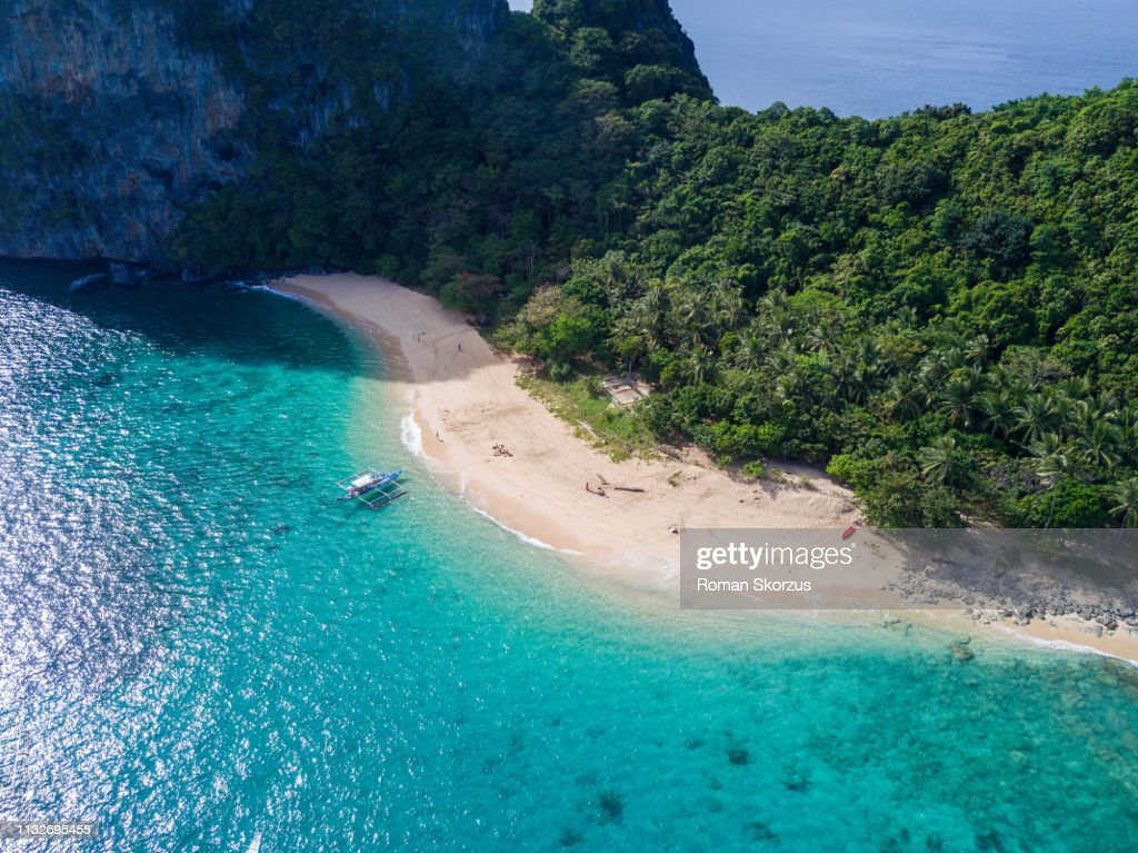 Aerial Drone Picture of the Limestone Island and White Sand Beach in El Nido, Palawan in the Philippines : Stock Photo