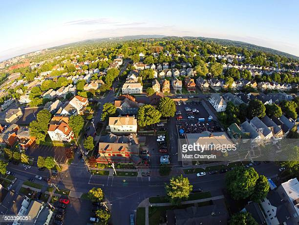 aerial drone shot of city residential area - syracuse new york stock pictures, royalty-free photos & images