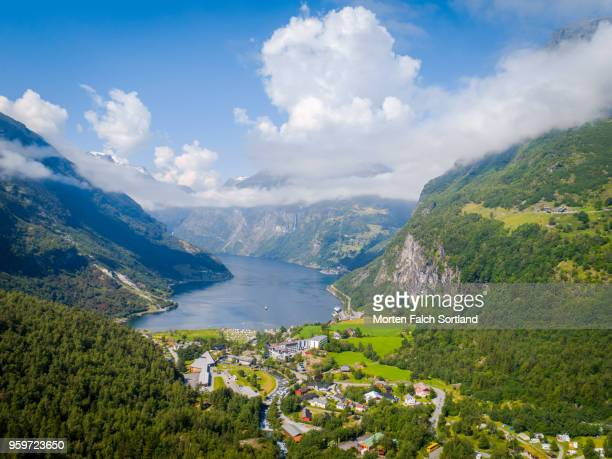 Aerial Drone Shot of the Majestic Geirangerfjord, Norway Summertime