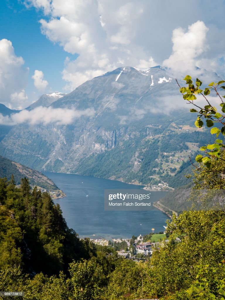 Aerial Drone Shot of the Majestic Geirangerfjord, Norway Summertime : Stock Photo