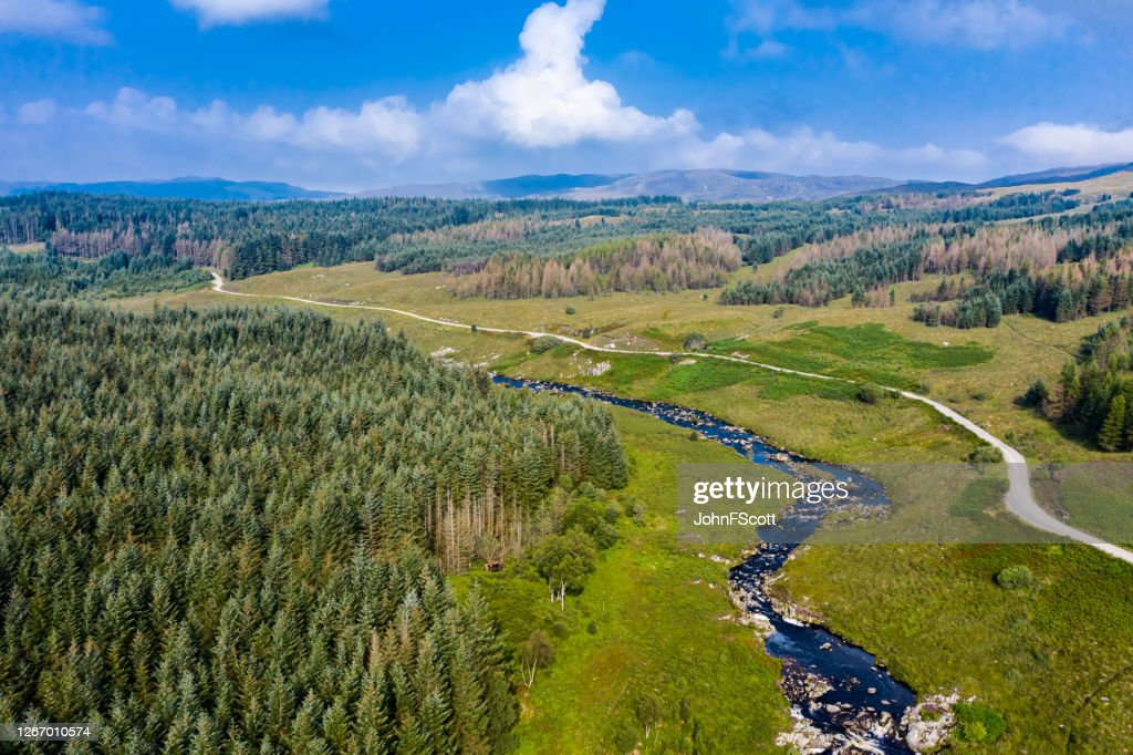 Aerial drone view of a Scottish river and dirt road in an area of forest in east Ayrshire, west Scotland : Stock Photo