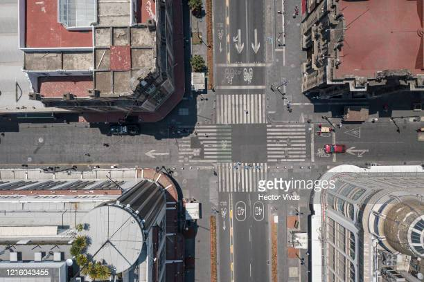 Aerial drone view of downtown streets on March 31, 2020 in Mexico City, Mexico. After being criticized for its slow response to the virus, Mexican...