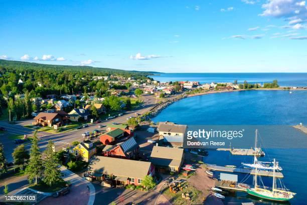 aerial drone view of grand  marais minnesota - minnesota stock-fotos und bilder