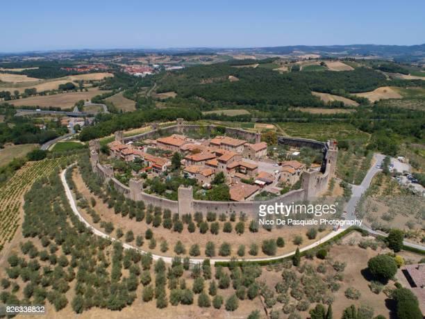 Aerial drone view of Monteriggioni Town