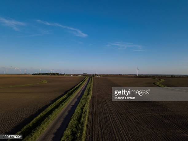 aerial drone view of open country road - midwest usa stock pictures, royalty-free photos & images