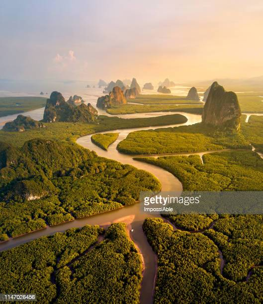 aerial drone view of river's curve line and nature landscape at phang nga province, southern of thailand - impossiable stock pictures, royalty-free photos & images