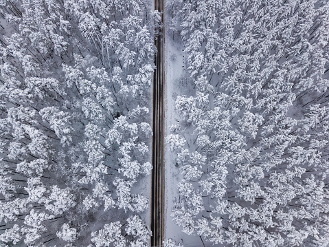 Aerial drone view of road in idyllic winter landscape - gettyimageskorea