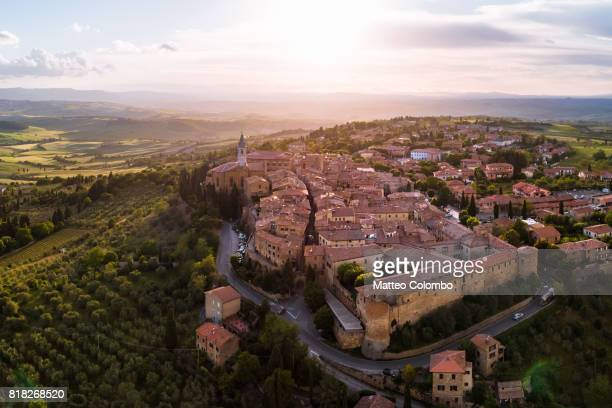 Aerial drone view of sunset over Pienza, Tuscany, Italy