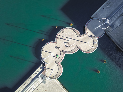 Aerial drone view of The Circle Bridge (Cirkelbroen) on the Inner Harbor of Copenhagen, Denmark. Taken by drone from straight above. - gettyimageskorea