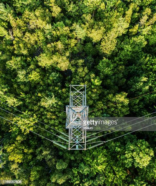 aerial drone view: power pylon - power line stock pictures, royalty-free photos & images
