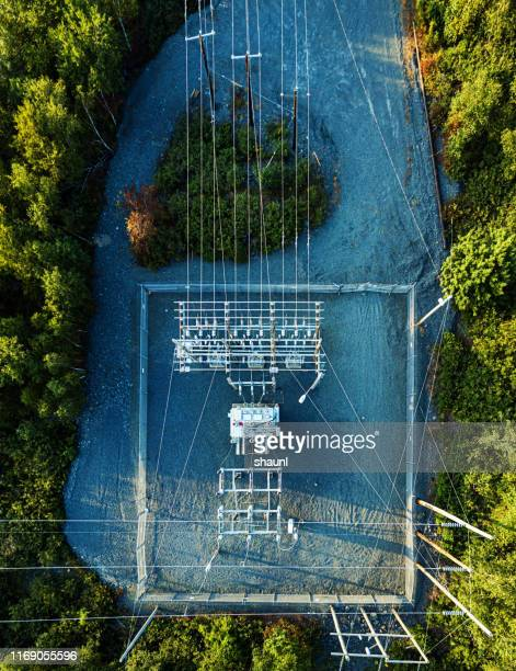 aerial drone view: power sub station - drone point of view stock pictures, royalty-free photos & images
