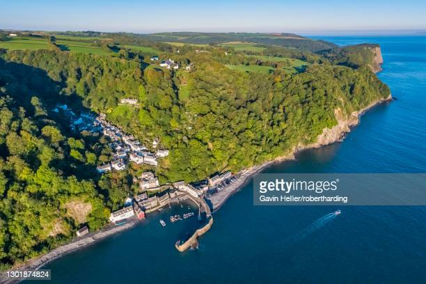 aerial elevated view over clovelly on the north devon coast, devon, england, united kingdom, europe - gavin hellier stock pictures, royalty-free photos & images