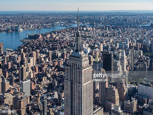 aerial empire state building - east village stock pictures, royalty-free photos & images