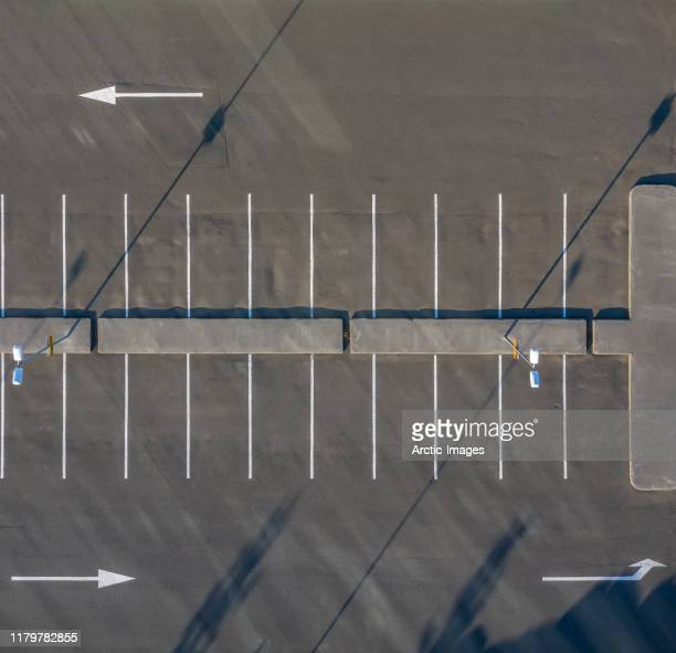 aerial - empty parking lot. - parking lot stock pictures, royalty-free photos & images