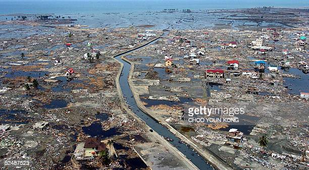 Aerial file photo shows a coastal area of Banda Aceh, 05 January 2005, two weeks after a powerful tsunami hit the region on December 26 2004,...