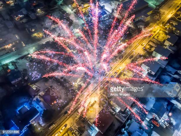 Aerial - Fireworks on New Year's Eve