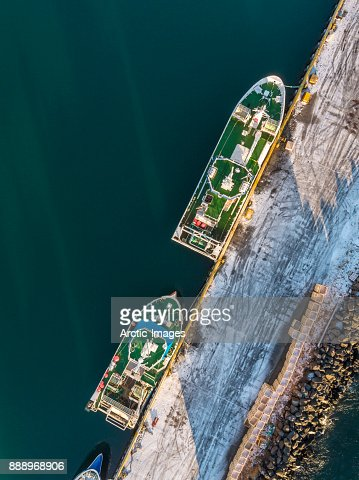 Aerial -Fishing Boats in the Winter, Bolungarvik, Westfjords, Iceland