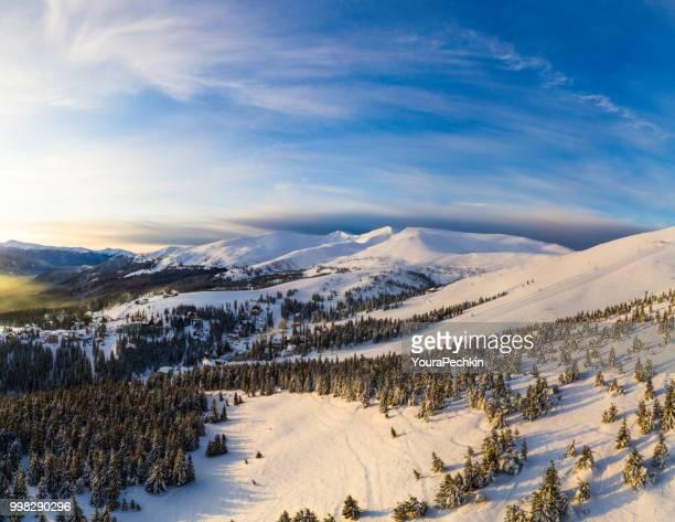 Aerial Flight Mountain Clouds Sunrise Beautiful Morning Peaks