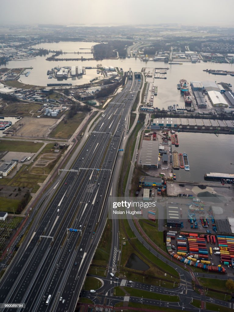 Aerial flying over Amsterdam industrial area : Stock-Foto