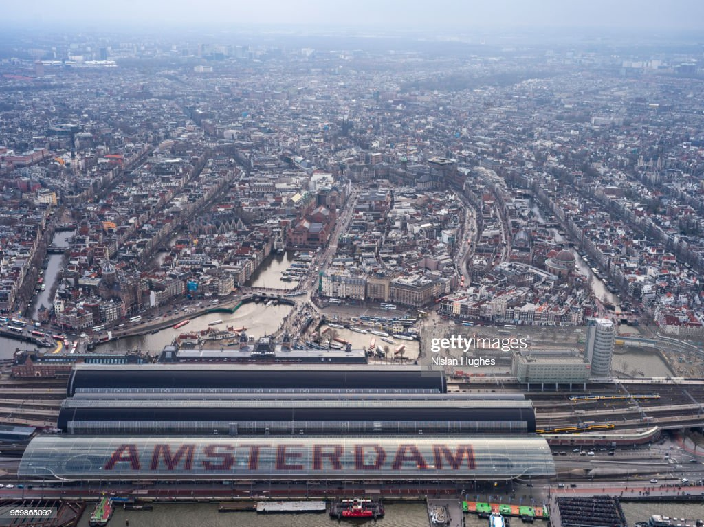 Aerial flying over Amsterdam train station : Stock-Foto