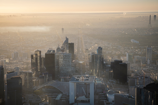 Aerial flying over buildings of La Défense in Paris France, sunrise - gettyimageskorea