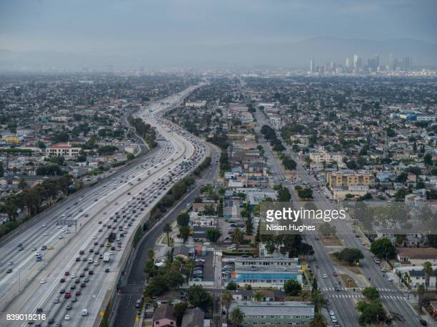 Aerial flying over Interstate 110 LA, CA afternoon rush hour